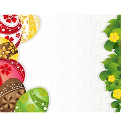 Multi colored easter eggs with wildflowers vector