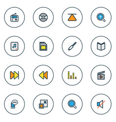 music icons colored line set with search next vector image