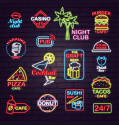 Neon street signboards for night clubs and cafes vector