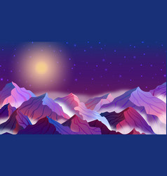 night landscape with mountains stars vector image