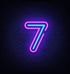Number seven symbol neon sign seventh vector