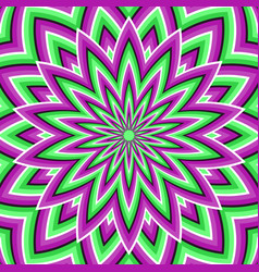 Optical background purple green moving flower vector