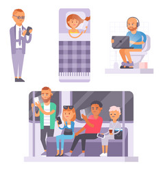 People and gadgets concept busy person smart vector