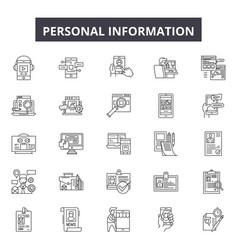 personal information line icons signs set vector image