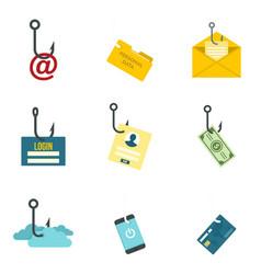 Phishing icon set flat style vector