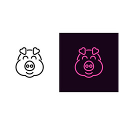 piglet face with smile in outline style vector image
