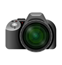 Professional modern digital camera with wide short vector