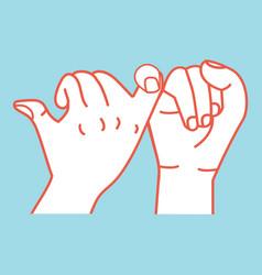 promise hands flat design orange line vector image