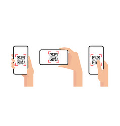 Qr code mobile phone scan on screen vector
