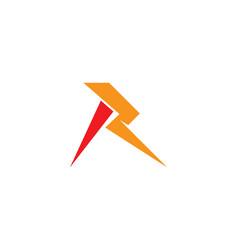 r letter lightning logo vector image