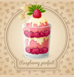 Raspberry parfait emblem vector