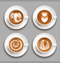 Realistic latte art top view vector