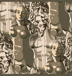 seamless pattern ancient statues a muscular vector image