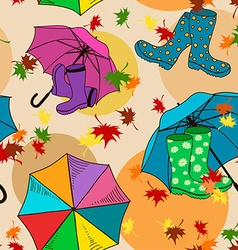 seamless pattern gumboots and umbrellas vector image