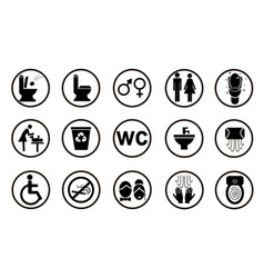 set black toilet icons isolated on white vector image