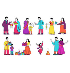 set colorful family scenes from india vector image