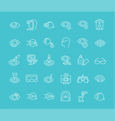 set line icons ophthalmology vector image