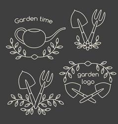 set of cute vintage gardening tools logo vector image