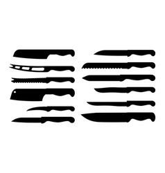 set of different knife samples vector image