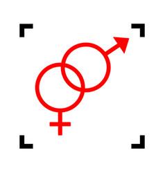 sex symbol sign red icon inside black vector image