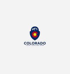 shield and mountain logo badge colorado mountain vector image