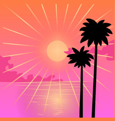 Silhouettes palm trees on a background vector