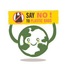 smiling earth cartoon with say no to plastic bag vector image