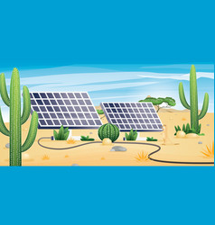 solar energy concept with deserted landscape two vector image