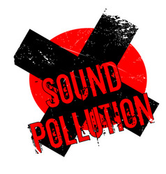 Sound pollution rubber stamp vector