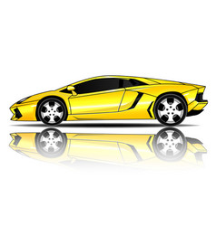 sport car yellow color white background ima vector image