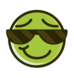 sunglasses funny smiley emoticon face expression vector image