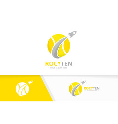 Tennis and rocket logo combination game vector