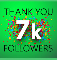 Thank you 7k followers card with colorful vector