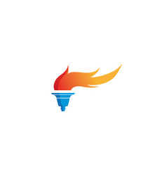 torch flame olympic symbol fire logo design vector image