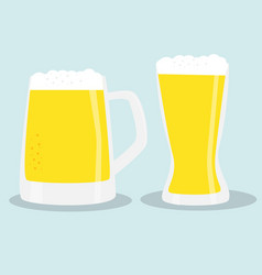 Two glasses of beer color vector
