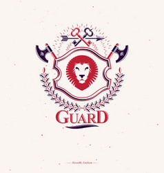 Vintage emblem made in heraldic design with lion vector