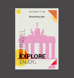welcome to the brandenburg gate berlin germany vector image