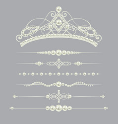 White realistic pearl dividers set collection with vector