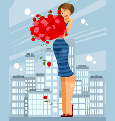 woman with bouquet of roses vector image