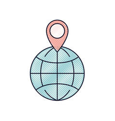 world globe and map pointer on top in colored vector image