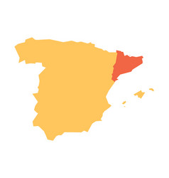 yellow silhouette map of spain with red vector image