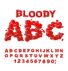 Bloody abc red liquid letter fluid lettring blood vector