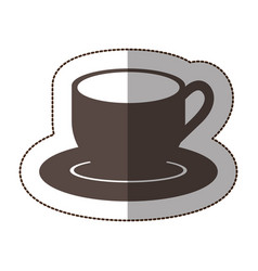 contour coffee cup and plate icon vector image
