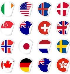 Curled corner stickers set with flags of the most vector image
