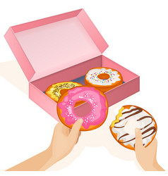 delicious donuts in cardboard box and human hands vector image vector image