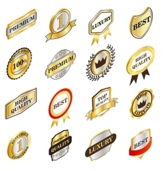 Golden labels collection isometric 3d style vector image vector image