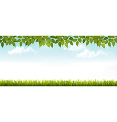 Long white fence banner with grass and leaves vector image vector image