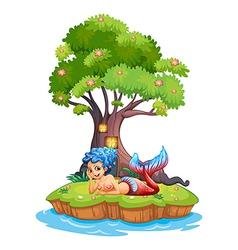 A mermaid near the treehouse vector image