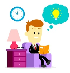 Businessman Reading A Book to Improve Skills vector image vector image