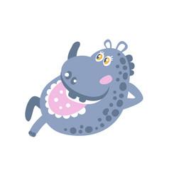 Cute cartoon hippo character lying vector
